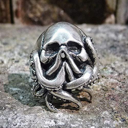 CHCO Goth Octopus Skull Ring Punk 316L Acero Inoxidable Anillos De Marinero Hombres Biker Joyas Regalo para Marinero 10