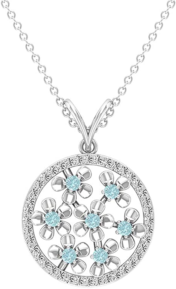 Custom 1/2 CT Blue Topaz Sky Cluster Certified Diamond Open Circle Halo Pendant, 14k Gold Floral December Birthstone Pendant, Chain Pendants