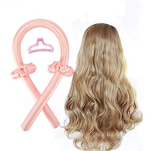 Heatless Curling Rod Headband,Lazy Curler Set,No Heat Curls Silk Ribbon Hair Rollers,Soft Foam Hair Rollers,Heatless Hair Curlers for Long Hair to Sleep in Overnight (Pink)