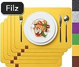 Sidorenko Edles Platzset aus Filz - 6er Set gelb - Tischset Abwischbar 44x32 cm Filzuntersetzer - abwaschbare Tischuntersetzer Platzdeckchen - Untersetzer Filzmatte