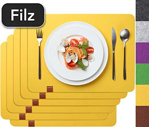 Sidorenko Edles Platzset aus Filz - 6er Set gelb - Tischset Abwischbar 44x32 cm Filzuntersetzer -...