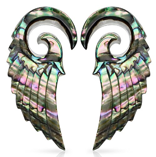 Body Accentz Earrings Rings 316L Organic Abalone Angelic Wing Hanging Taper 2g Spiral