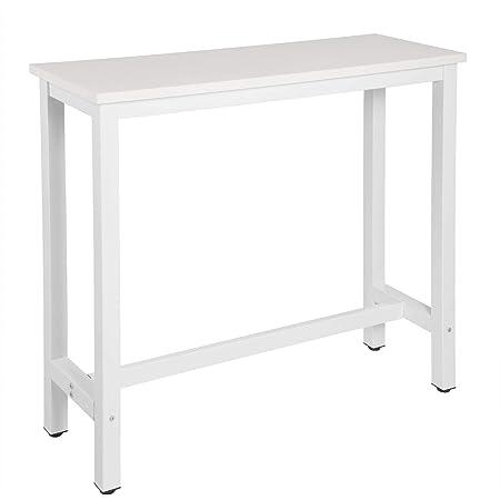 WOLTU BT17ws Table de Bar 120x40x100cm Table Bistrot Table à Manger, Structure en métal et Plateau en MDF Robuste,Blanc
