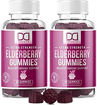 Sambucus Elderberry Gummies with Zinc Vitamin C for Adults Kids for Black Elderberry Immune Support System Vitamins Elderberry Extract Supplements - Alternative to Capsules Syrup Pills Tea  2 Pack