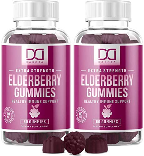 Elderberry Gummies with Zinc Vitamin C for Adults Kids for Sambucus Black Elderberry Immune Support System Vitamins, Elderberry Extract Supplements - Alternative to Capsules Syrup Pills Tea (2 Pack)