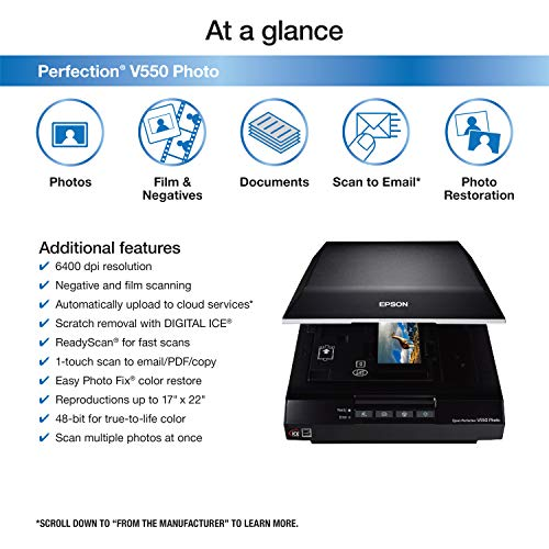 Epson Perfection V550 Color Photo, Image, Film, Negative & Document Scanner with 6400...