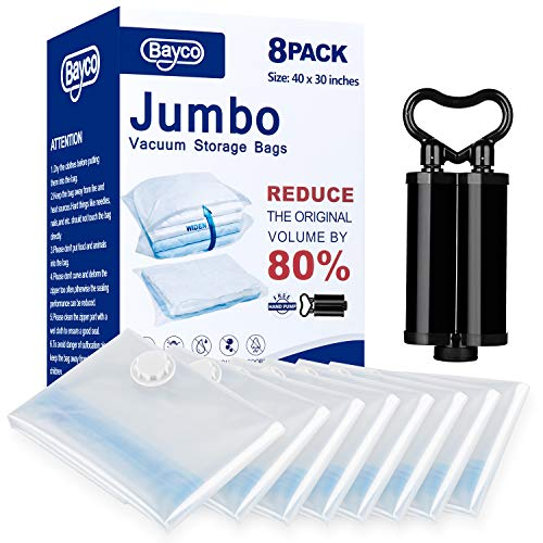 """BAYCO Vacuum Storage Bags, 8 Pack Jumbo Size (40"""" 30"""") Space Bags, Save 80% More Space Vacuum Sealer Bags, Double Zip Seal & Leak Valve, Free Travel Hand Pump Included (Clear)"""