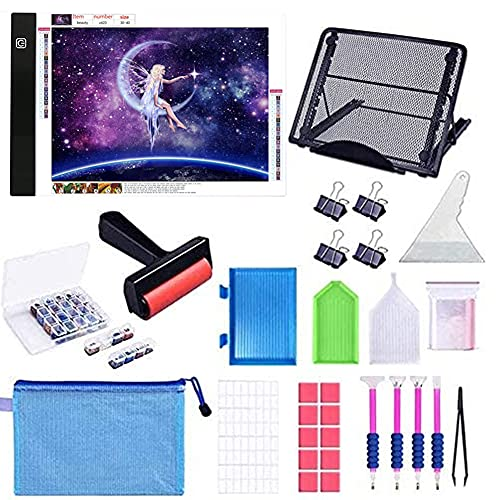 B4 Diamond Painting Light Pad with Metal Stand, Zcyln B4 LED Light Board USB Powered Dimmable Tracing Light Box with Diamond Painting Accessories Tools for 5D Diamond Painting/Art & Drawing
