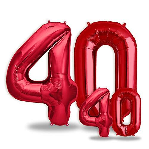 """FUNXGO® Folienballon Zahl in Rot 2 Stück – 40"""" + 16""""- Riesenzahl und kleine Ballons Folienballons für Luft und Helium als Geburtstag, Hochzeit , Jubiläum oder fest , Party Dekoration (Rot[ 40 ])"""