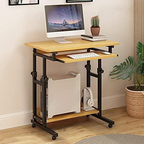 SONGYU Coffee Stand up Desk Estación de Trabajo ergonómica móvil para computadora con Ruedas Color Teca Negro Color Nogal Color Madera Blanco, Negro