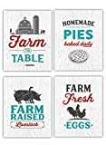 Rustic Farmhouse Kitchen Wall Art Signs - Set of 4-8x10 UNFRAMED Gray, Teal, Red & White Kitchen Prints Perfect for Vintage, Modern Farm, Cottage, Country and Retro Decor.