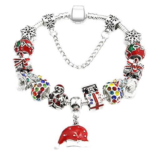 Demarkt Kerstmis, damesarmband, kerstmuts, hanger, armband, bedelarmband, cadeau voor dames
