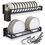 Dish Drying Rack, Detachable 304 Stainless Steel Wall Mount Dish Rack and drainboard Set,2 Tier Hanging Dish Rack with 6 Hooks and 1 Utensil Caddy(Black)