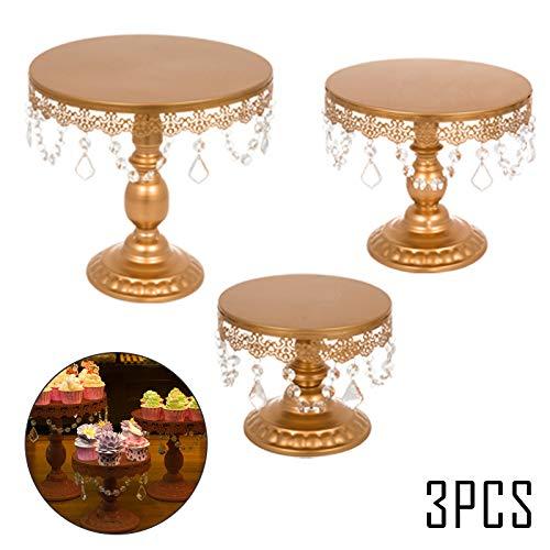 VEVOR Set de 3 Color Soporte para Tartas Soporte Redondo de Metal para Tartas Soportes de TortaPlacas para Tarta Bandejas para Tartas Tenedor de Postre Oro