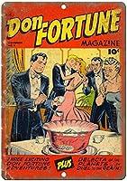 ドンフォーチュンコミックヴィンテージティンサインの装飾ヴィンテージ壁金属プラークカフェバー映画ギフト結婚式誕生日警告のためのレトロな鉄の絵