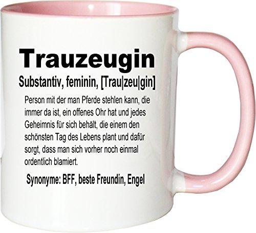 Mister Merchandise Kaffeebecher Tasse Trauzeugin Definition Hochzeit Frau Maid Bride Geschenk Dankeschön Teetasse Becher Weiß-Rosa