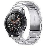 VICARA Compatible Samsung Galaxy Watch (46mm)バンド ステンレス 調整工具付き 錆びにくい スチール オシャレ 金属製 高級腕時計 ビジネス 替えベルトCompatible Samsung Galaxy Watch 46mm SM-R800/SM-R805/Galaxy Gear S3(シルバー)
