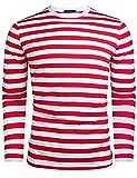 Herren Gestreiftes Shirt Longsleeve Leicht Basic mit Rundhals Ausschnitt, Rot&weiß, XL