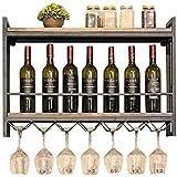AERVEAL Almacenamiento de Vino Retro Estante de Pared Estante de Madera Metal Soporte de Hierro Almacenamiento Racks de Vino Colgando Botella de Vino Y Titulares de Vidrios Fácil de Instalar Almacena