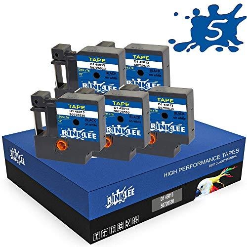 RINKLEE D1 45013 S0720530 Schwarz auf Weiß Etiketten Schriftband Kompatibel mit DYMO LabelManager PnP 160 160P 210D 280 360D 420P 500TS MobileLabeler & LabelWriter 450 Duo | 12 mm x 7 m | 5 Kassetten
