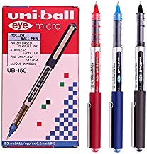 Uni-ball Eye Micro Ub-150 Gel Ink Pen - 0.5 Mm -Uni Mitsubishi Pencil (Black,Blue,Red Mix) 12 Pens by Uni-ball