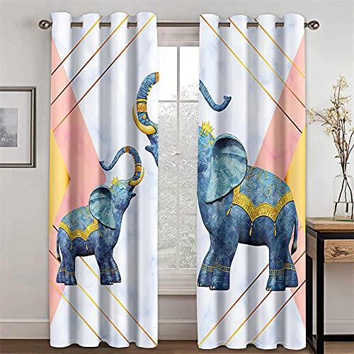 TARIZPPG 2 Piezas Cortinas Opacas Elefante Mandala Doble Cara Grueso Suaves Evitar...