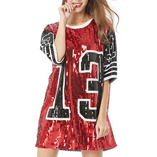 SUPVOX Lentejuelas Lucky Number 13 Camiseta Vestido Traje de Rendimiento para Mujeres Damas (Rojo)