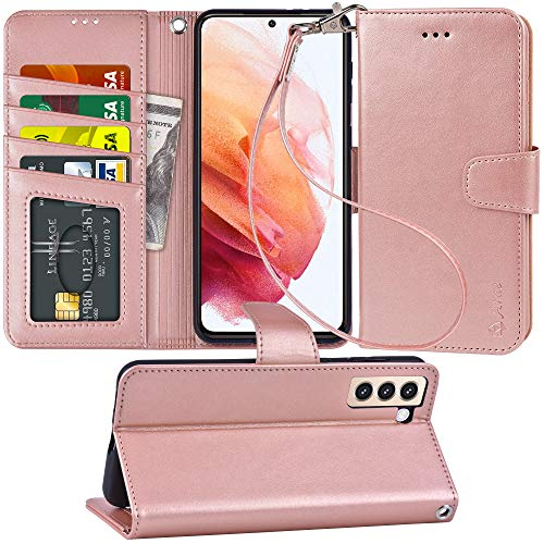 Arae Case for Samsung Galaxy S21 Wallet Case Flip Cover with Card Holder and Wrist Strap for Samsung Galaxy S21, 6.2 inch (Rose Gold)