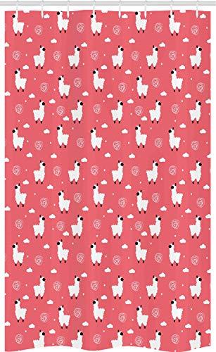 ABAKUHAUS Pink und Weiß Schmaler Duschvorhang, Geschwollene Lama Icons, Badezimmer Deko Set aus Stoff mit Haken, 120 x 180 cm, Weiß Schwarz Korallenrot