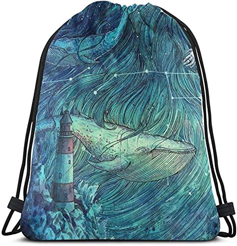 XCNGG Mochila con cordón de mar iluminado por la luna, paquete de saco de gimnasio, paquete de cincha sólido, saco de Sinch, bolsa de cuerda deportiva con bolsillo, bolsa de playa, regalo para hombres