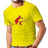 lepni.me Camisetas Hombre la Llamada del Lobo Salvaje - gráfico Genial con sentimiento Espiritual (Small Amarillo Rojo)