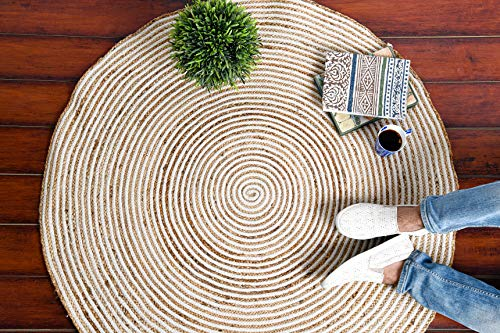 IMPEXART PVT LTD Geflochtener runder Spiraleppich aus natürlicher Baumwolle und Jute Handgewebter runder Juteteppich für Wohnzimmer 122X122 cm Vintage Teppich mit Wendebereich für Schlafzimmer