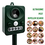 MASO Solar Power Ultrasonic Pest Control Animal Repeller Outdoor Home Guard Deterrent to Protect Your Yard...
