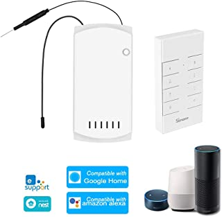 OWSOO SONOFF IFan03 WiFi Smart Ceiling Fan Light Controller Ceiling Fan Controller Smart Switch Controller RF/APP Remote Control ON/Off Control Fan Compatible with Alexa G-Home/Nest IFTTT, with RM433