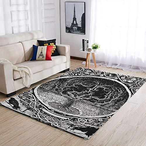 Hothotvery Alfombra vikinga del árbol de la vida celta Odin con cuervo impreso, decorativa, para suelos duros, color blanco, 122 x 183 cm
