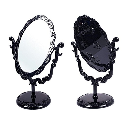 Eachbid Desktop Rotatable Gothic Small Size Rose Makeup Stand Mirror Black Butterfly