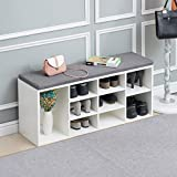 TUKAILAI White Shoe Bench Storage Cabinet Rack Hallway Cupboard Organizer with Seat Cushion Shoe Cabinet Bench Shelf Storage Unit with Padded Seat Entryway Hallway