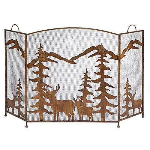 HH- Kaminschutzgitte Amerikanischer Ausziehbare Kamin Bildschirm, Elk Weihnachtsbaum Metall Kamin Zaun Mit Netz Anti-Kohle Ash Partition