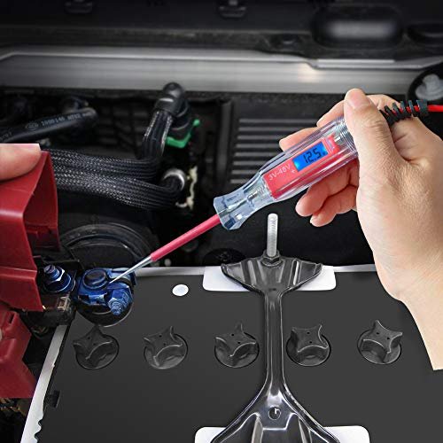 Car Truck Low Voltage /& Light Tester with Stainless Probe JASTIND Heavy Duty 3-48V Backlit Digital LCD Circuit Tester Test Light with 140 Inch Extended Spring Wire