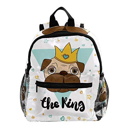 Laptop School Backpack Girls Bookbags Schoolbag for Teens University Travel Daypack,Fun with King Pugs
