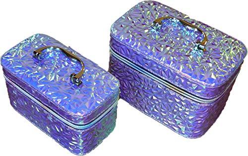 Cosmeticakoffer cosmeticakoffer make-up tas toilettas kinderkoffer toilettas voor op reis toiletartikelen voor dames meisjes vrouwen make-up, Patroon X blauw (blauw) - KUF-01