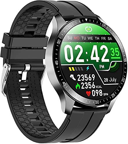 Reloj inteligente 24H Frecuencia Cardíaca y Monitoreo del Sueño 1 28 Pulgadas TFT Pantalla Táctil Completa Pulsera Larga Duración de la Batería IP68 Impermeable Multi Modo Deportivo-Negro