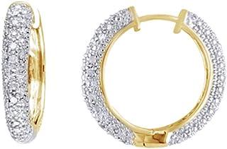 Holiday Sale - Orecchini a cerchio con diamante naturale bianco taglio rotondo per donne e ragazze in argento Sterling 925...
