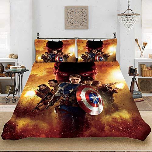 CXYY Captain America bedruckte Bettwäsche – Bettbezug und Pillowcase, 100 {041f2c0a50c9ab4b350b3bd21e76eb8e7e29faab7418e65bd47a3adadea60d54} Mikrofaser, digital 3D-Druck (D,200 x 200 cm)