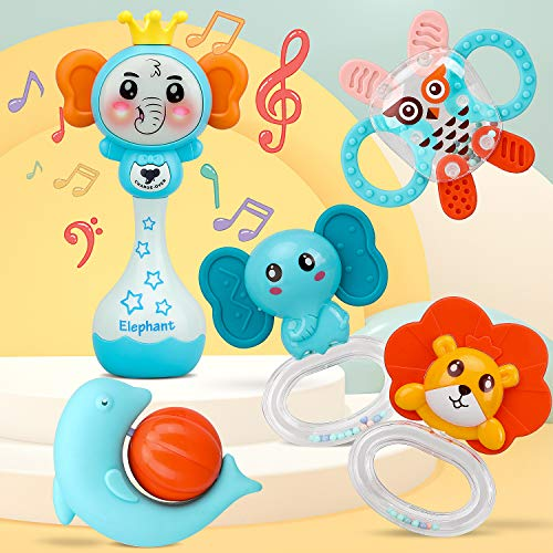 TOY Life 5PCS Baby Rattle Teething Toy with Electronic Elephant Grab Shaker for Infants  Baby Musical Toys  Baby Toys 12 Months Infant Toys Baby Gifts for Newborn Boys and Girls