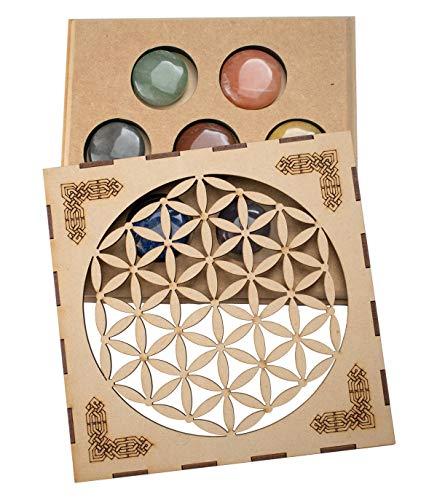 Lamarenset mineralen 7 CHAKRAS in houten doos bloemen