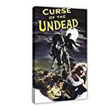 Póster clásico de la película 'Curse of The Undead Old Movie Poster de lona para decoración de dormitorio, paisaje, oficina, habitación, marco de regalo, 50 x 75 cm