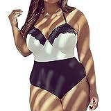 Oyeden Taglie Forti Costumi da Bagno Interi Donna Trikini Costume da Mare Spiaggia Piscina Bohemian in Pizzo Bikini Swimsuit One Piece Coordinati Beachwear Bra Monokini (XXXL, Nero)