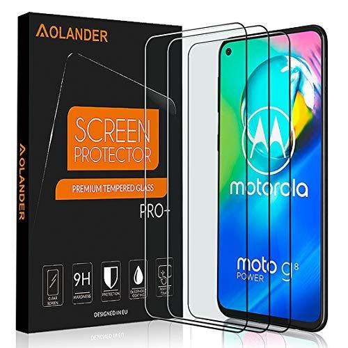 AOLANDER für Motorola Moto G8 Power Panzerglas Schutzfolie, 9H Festigkeit 5-Mal verbesserte Panzerglasfolie Hartglas Anti-Kratzer & Fingerabdruck HD Bildschirmschutzfolie Gehärtetem Glas(3 Stück)