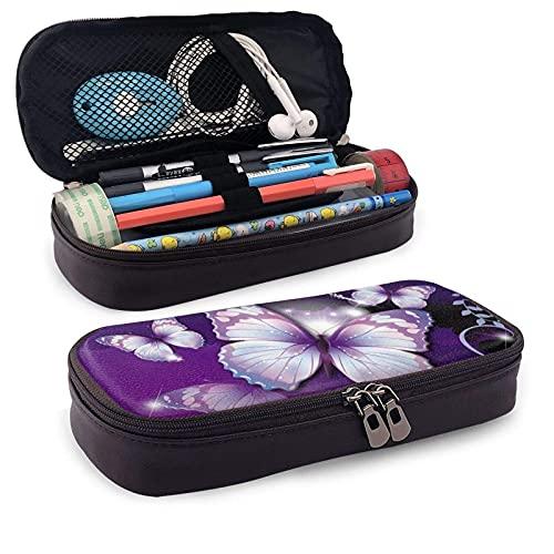 Bonita funda para lápices de piel con diseño de mariposa para niñas y niños